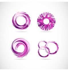 Pink purple logo circles elements icon set vector image