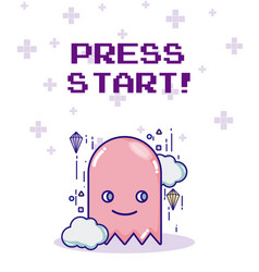 Press start videogame character vector