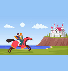Prince and princess ride horse horseman riding to vector