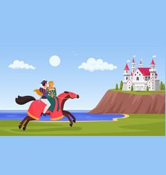 prince and princess ride horse horseman riding vector image