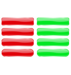 red and green glass buttons shiny rectangle 3d vector image