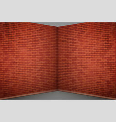 Red brick wall room vector