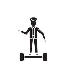 riding a gyroboard black concept icon vector image