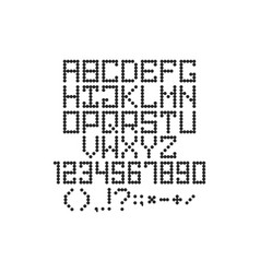 Round pixel font with letters and numbers and vector