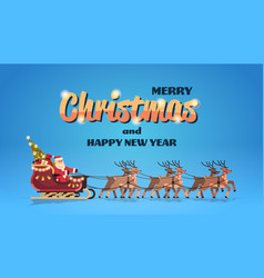 santa claus in sleigh with reindeers merry vector image