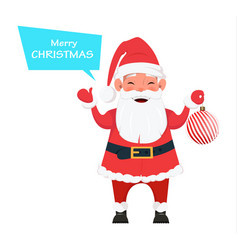Santa holding christmas tree decoration vector