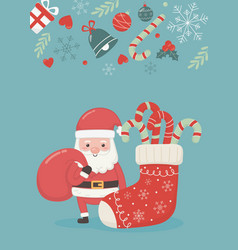 Santa with bag and sock candy canes merry vector