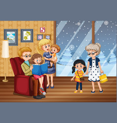 scene with family having a good time at home vector image