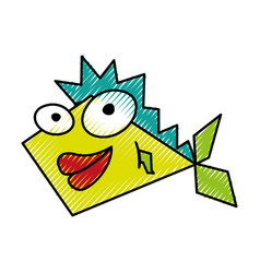 scribble funny fish cartoon vector image