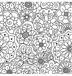 seamless pattern of hand drawn floral doodle vector image