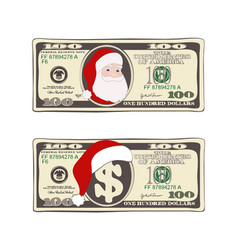Set 100 dollar christmas bill one hundred vector