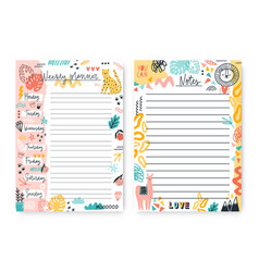 Set colorful doodle weekly planner and notes vector