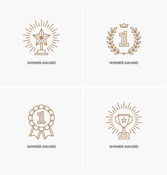 set four linear winner awards vector image