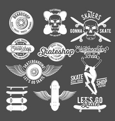 Set of vintage badges with skateboard vector