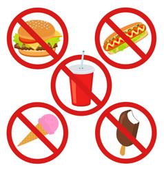 set prohibited signs supermarket symbols no junk vector image