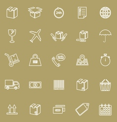 Shipping line icons on brown background vector image