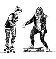 Sketch teenage girls skateboarding vector