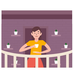 staycation at home balcony with coffee flat design vector image