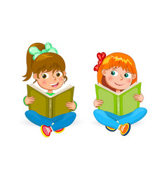Two little happy girls read books vector