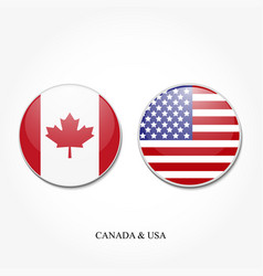 two round usa flag and canada on a white vector image