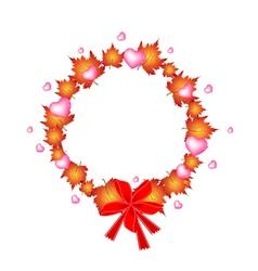 valentine wreath orange maple leaves and hearts vector image