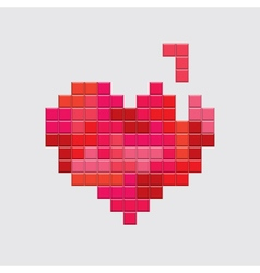 Valentines day card video game red heart vector