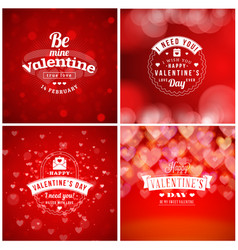 Valentines day cards or poster design templates vector