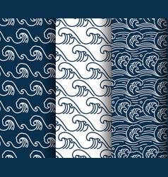 Water sea wave seamless pattern set vector
