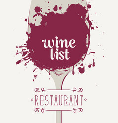 wine list with glass of wine spots and splashes vector image