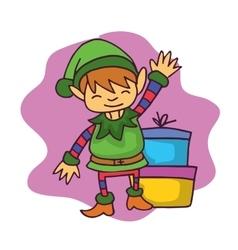 Cartoon elf waving with gift Christmas vector image
