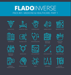 icons set of medicine and healthcare vector image