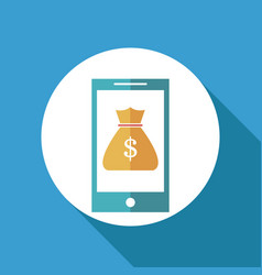 Smartphone bag money online banking vector