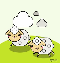 Two white sheep and cloud on the sky vector image vector image