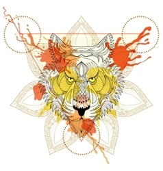 Zentangle stylized Tiger in triangle frame with vector image vector image