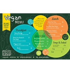 colorful organic food vegan restaurant menu vector image vector image