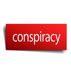 conspiracy red paper sign isolated on white vector image vector image