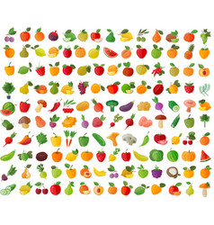 fruit and vegetables color icons set vector image vector image