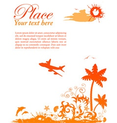 grunge summer card with starfish airplane element vector image vector image