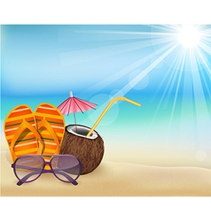 Summer beach sandals color young coconut with s vector image vector image