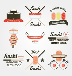 Sushi flat design vintage label vector image vector image