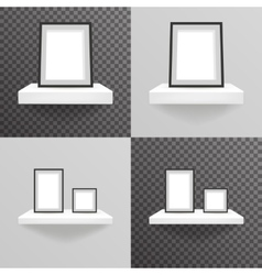 White shelf hanging on a wall with photo frame vector image vector image