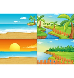 Beach and river vector image vector image