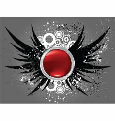 glossy button on grunge wings vector image vector image