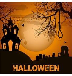 Halloween background with spooky house trees and vector