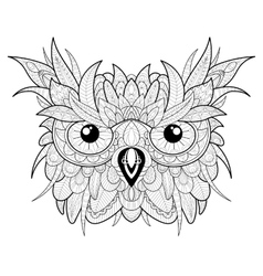 Hand drawn cute owl portrait for adult coloring vector image vector image