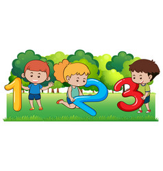 happy children and numbers in the park vector image vector image