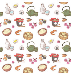 japanese food hand drawn seamless background vector image