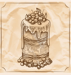 sweet retro cake with fruit and berries treat for vector image vector image