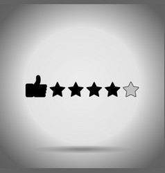 thumb up and stars search rating icon vector image vector image