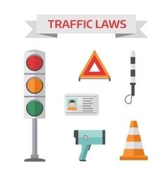 Traffic road police symbols set flat elements vector image vector image